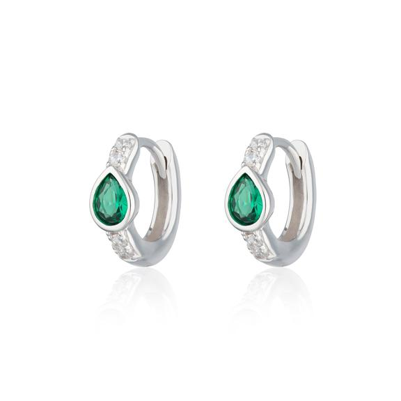 SP - Green Teardrop Huggie Earrings