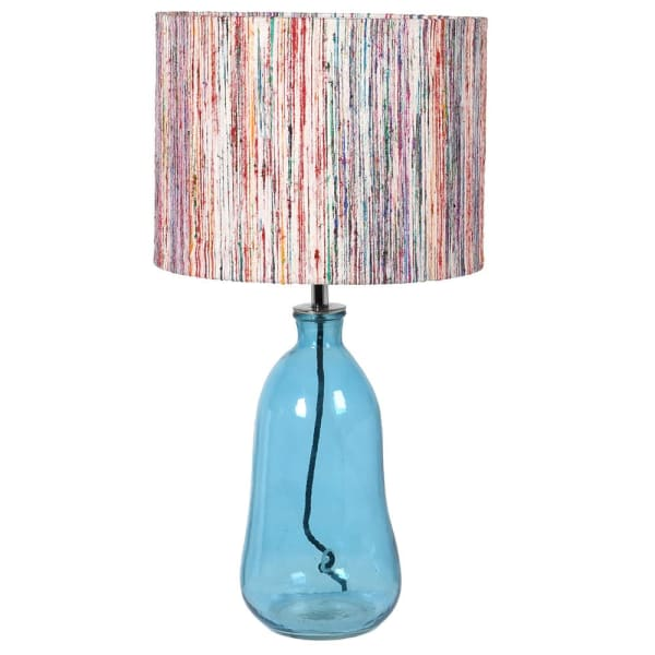 Blue Glass Lamp with Striped Shade