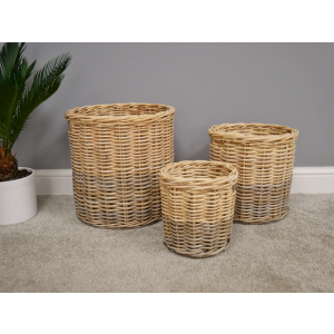 Set of 3 Rattan Baskets
