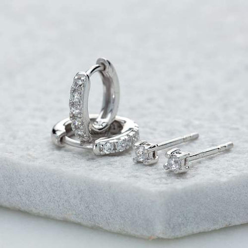 SP Sparkle Huggie and Tiny Stud Set of Earrings