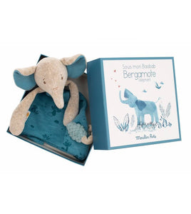 Elephant comforter with pacifier holder
