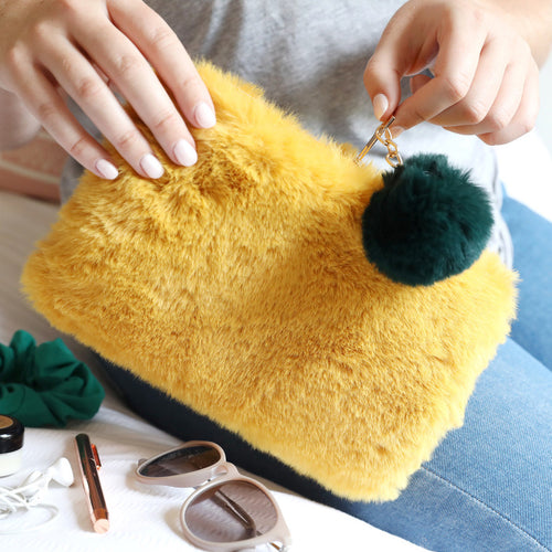 Faux Fur Mustard and Teal Pom Pom Pouch