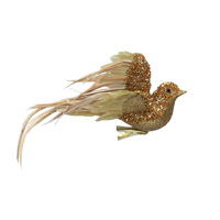 Clip on Bird 22cm - Gold Glitter/Flying
