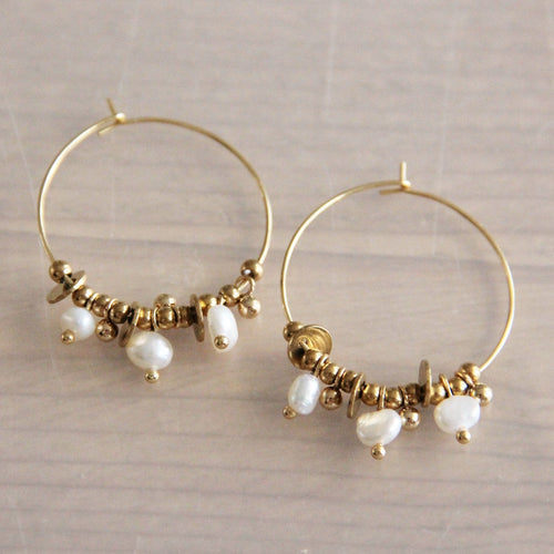 Hoops with Pearls and Gold Coloured Accents