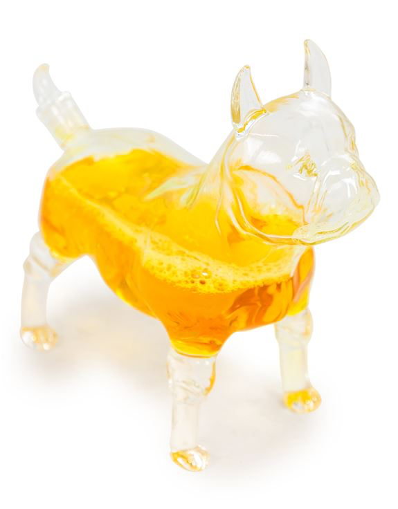 French Bulldog Glass Decanter