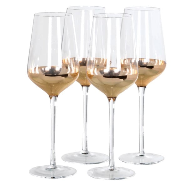 Set of 4 Gold White Wine Glasses
