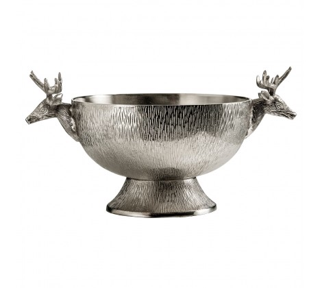 DIA STAG PUNCH BOWL NICKEL FINISH