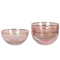 Pink and Gold Glass Bowl