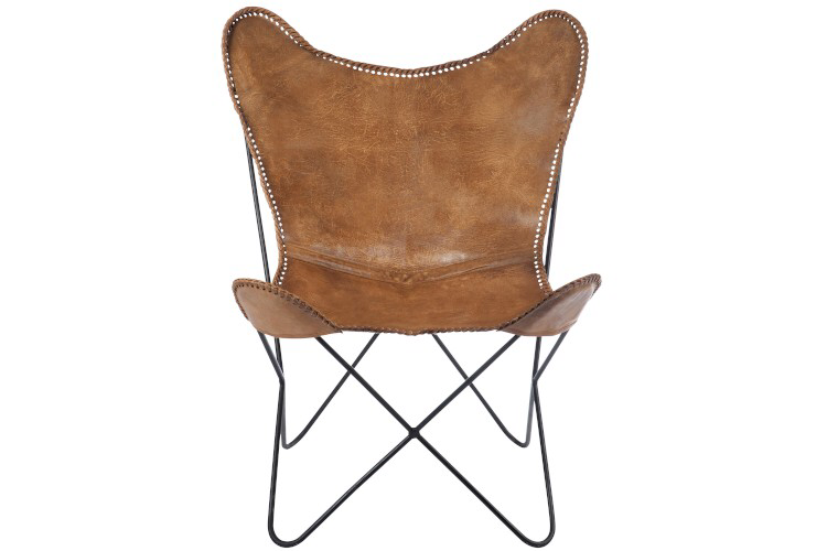 Lounge Chair Leather/Metal Cognac