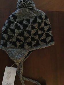 SUKHI Handknit Wool Fleece Lined Pattern Ear Flap Hat