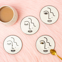 Set of 4 Abstract Face Coasters