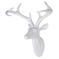 Large White Resin Deer Head