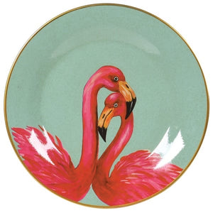 Decorative Plate with Pair of Flamingos