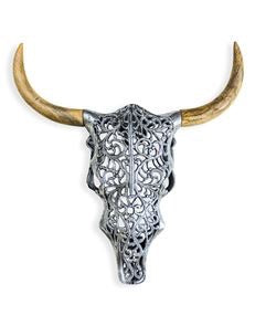 ALUMINIUM AND WOOD TRIBAL BISON WALL HEAD