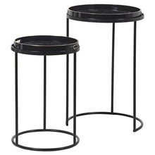 Set of Two Black Marble Effect Tray Tables