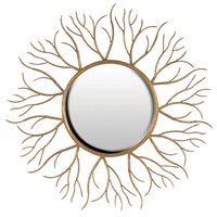 Gold Twigs Round Mirror