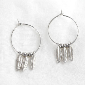Triple Wing Charm Hoop Earrings