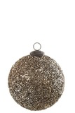 Large Christmas Bauble Glitter Glass Dark Gold