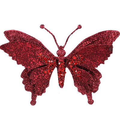 Clip-on Butterfly 18cm - Red Glitter
