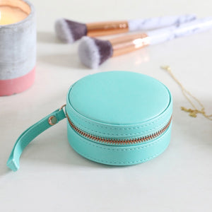 Green Round Travel Jewellery Box