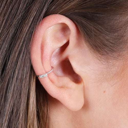 Sterling Silver Crystal Ear Cuff