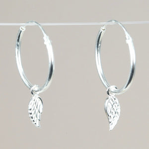 Wing Charm Hoop Earrings