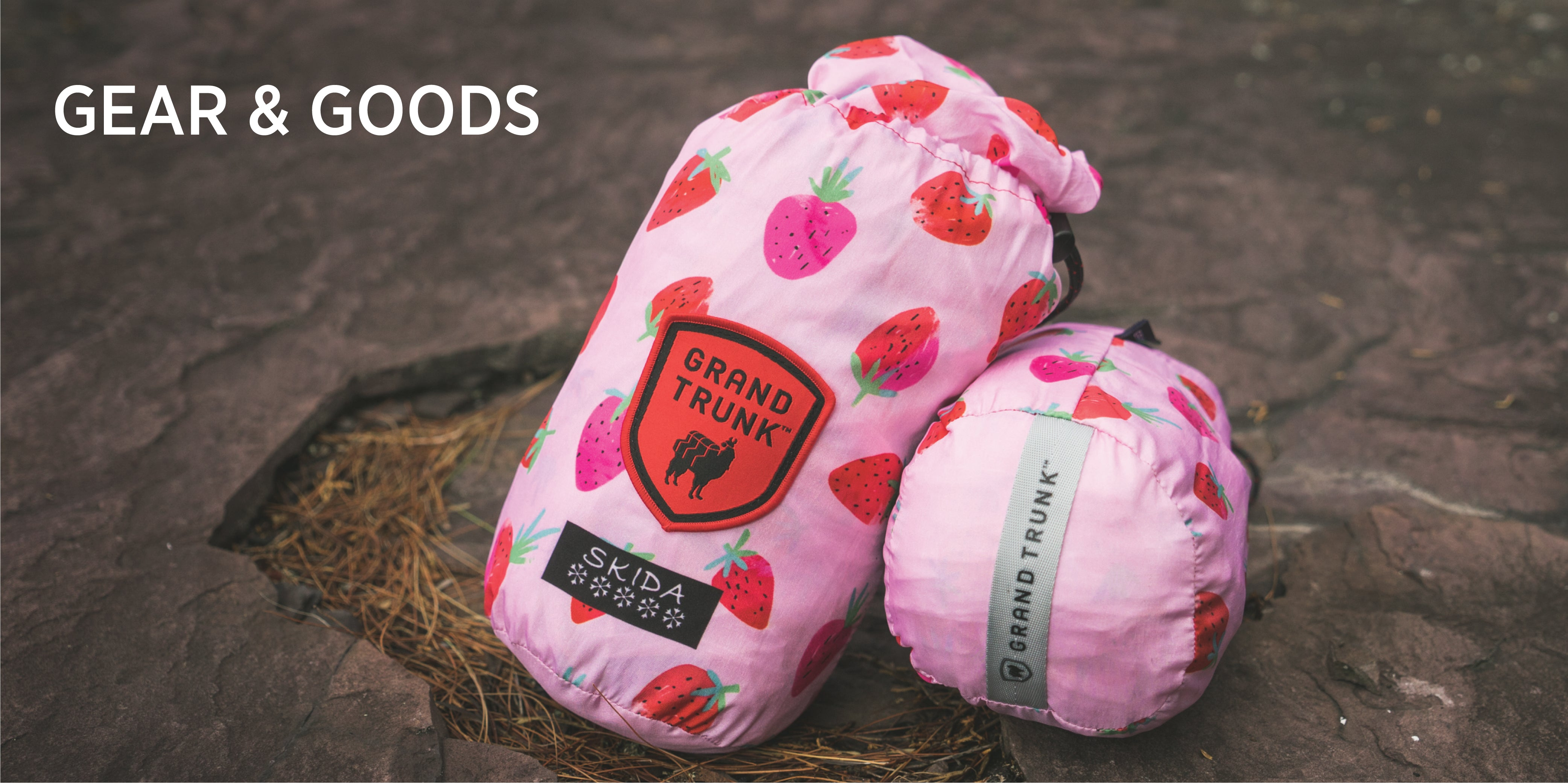 Skida Gear & Goods! Check out our Strawberry Fields-themed Hydroflasks and Grand Trunk Hammocks!