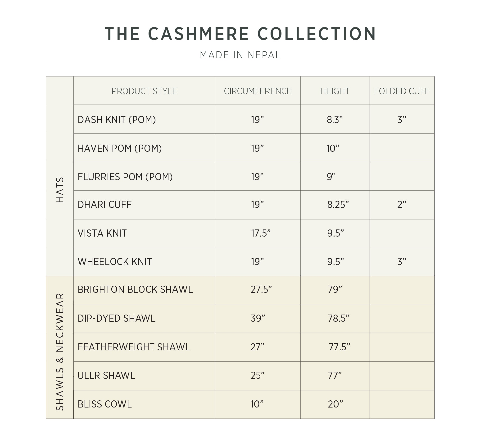 Skida | Headwear & Accessories - Cashmere Collection Size Chart