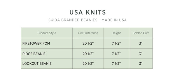 Skida | Headwear & Accessories - USA Knits Size Chart