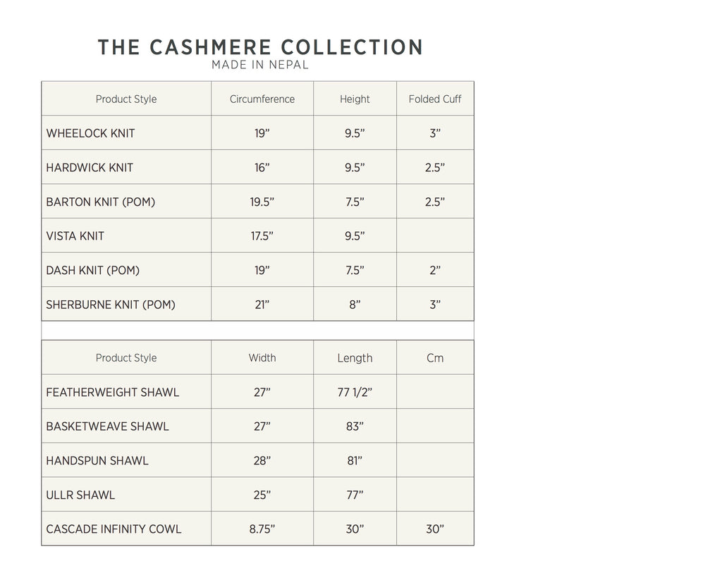 Skida Size Chart Cashmere Collection