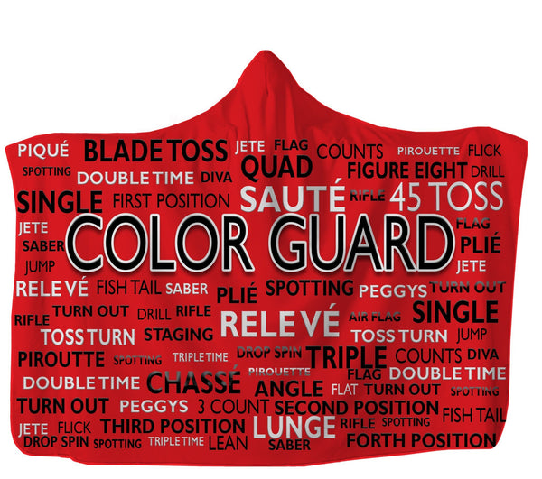 USA Made Dropship Hooded Blanket 80x60 / Muliticolored Red Color Guard Hooded Blanket HB0887