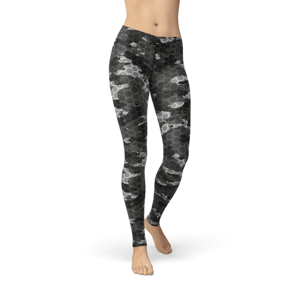 USA Made Dropship Leggings Avery Black Hex Camo