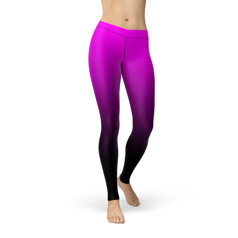 USA Made Dropship Leggings Avery Pink Black Ombre