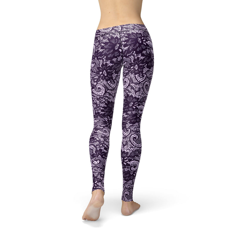 USA Made Dropship Leggings Avery Purple Lace