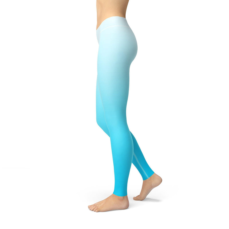 USA Made Dropship Leggings Avery White Blue Ombre