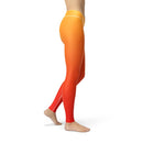 USA Made Dropship Leggings Avery Yellow Red Ombre