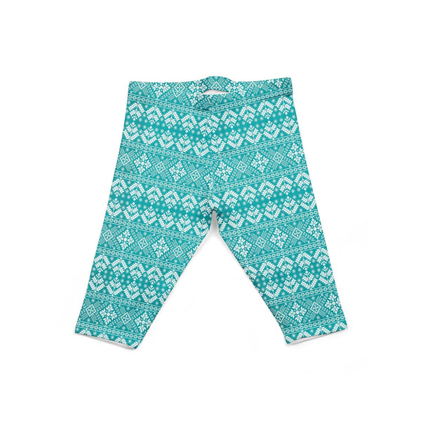 USA Made Dropship Leggings Default Title / Teal Infant Teal Snowflakes INON1BUMC9