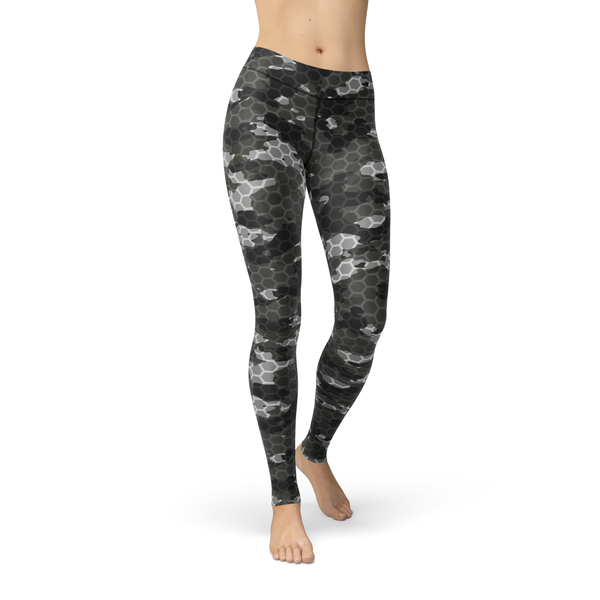 USA Made Dropship Leggings XS / Multicolored Jean Athletic Black Hex Camo JAL0550-XS-MUL