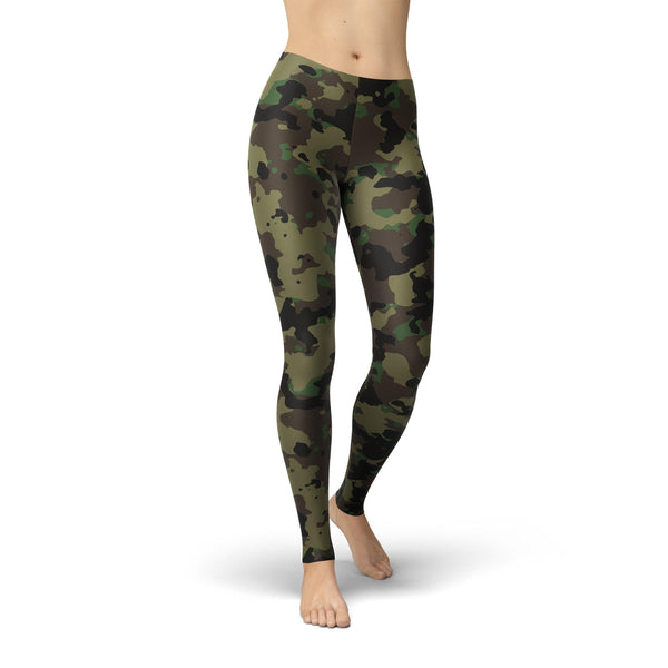 USA Made Dropship Leggings XS / Green Jean Athletic Camouflage JAL0771-XS-GRE