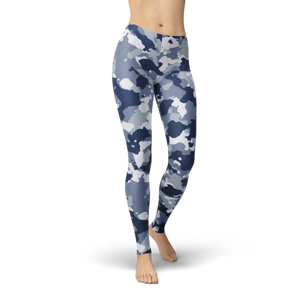 USA Made Dropship Leggings XS / Multicolored Jean Athletic Dark Blue Camo JAL0767-XS-MUL