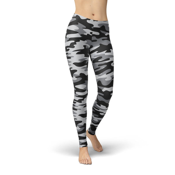USA Made Dropship Leggings XS / Gray Jean Athletic Dark Grey Camouflage JAL0768-XS-GRA