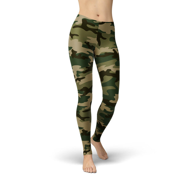 USA Made Dropship Leggings XS / Multicolored Jean Athletic Green Camo JAL0770-XS-MUL
