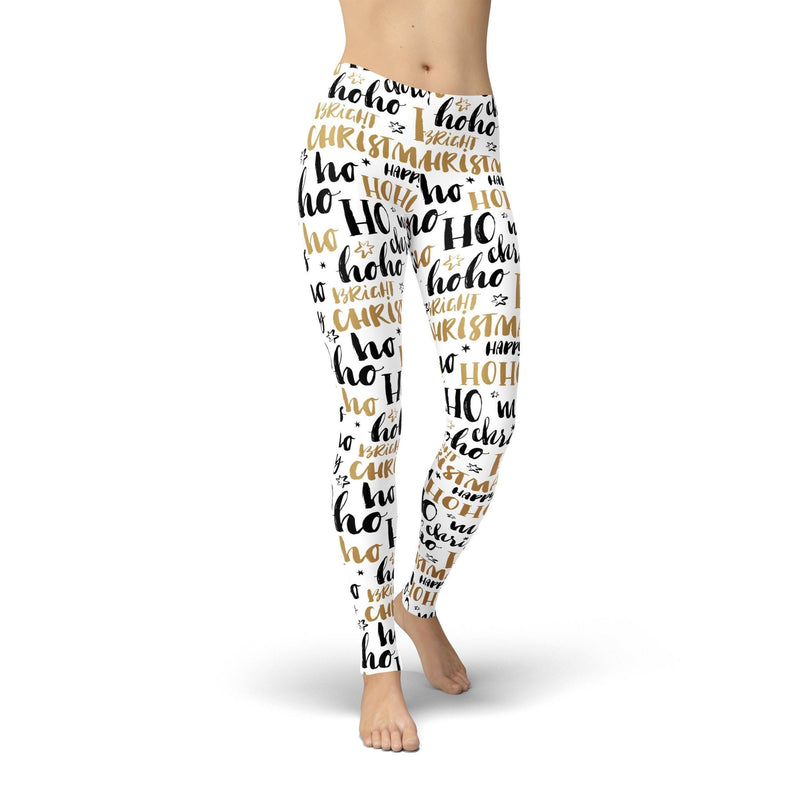 USA Made Dropship Leggings XS / White Jean Athletic Ho Ho Ho Black and Gold JAL0735-XS-WHI