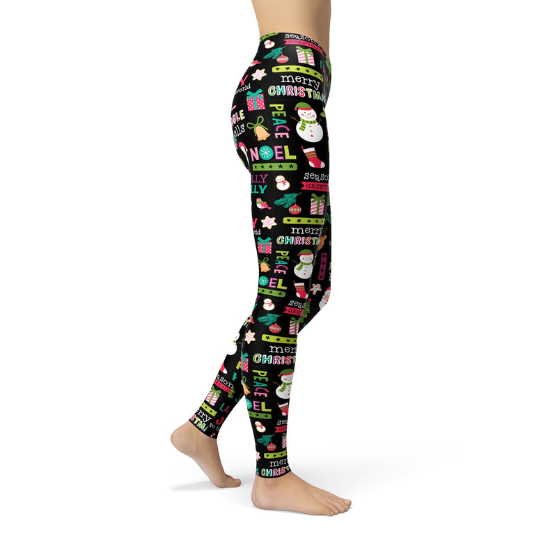 USA Made Dropship Leggings Jean Athletic Holly Jolly