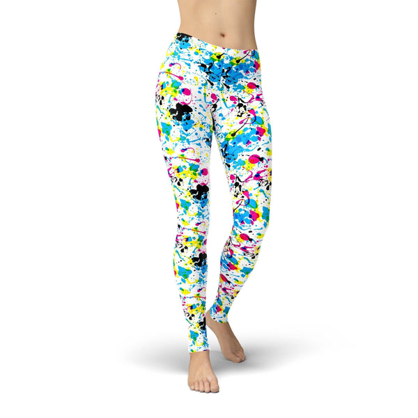 USA Made Dropship Leggings Jean Athletic Paint Splatter