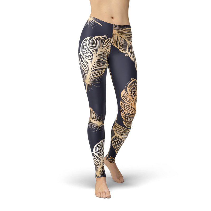 USA Made Dropship Leggings XS / Dark Navy Jean Athletic Peacock Feathers JAL0773-XS-DAR