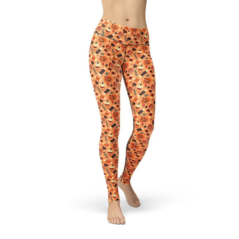 USA Made Dropship Leggings XS / Multicolored Jean Athletic Pumpkin Candies JAL0616-XS-MUL