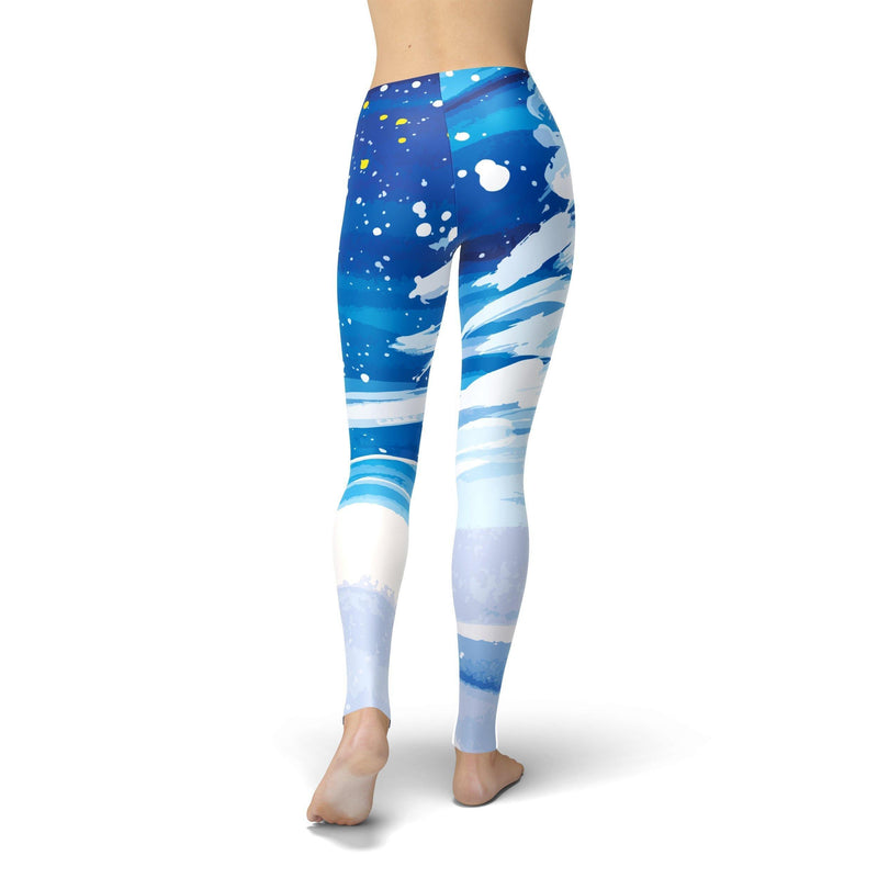 USA Made Dropship Leggings Jean Athletic Snowy Trees