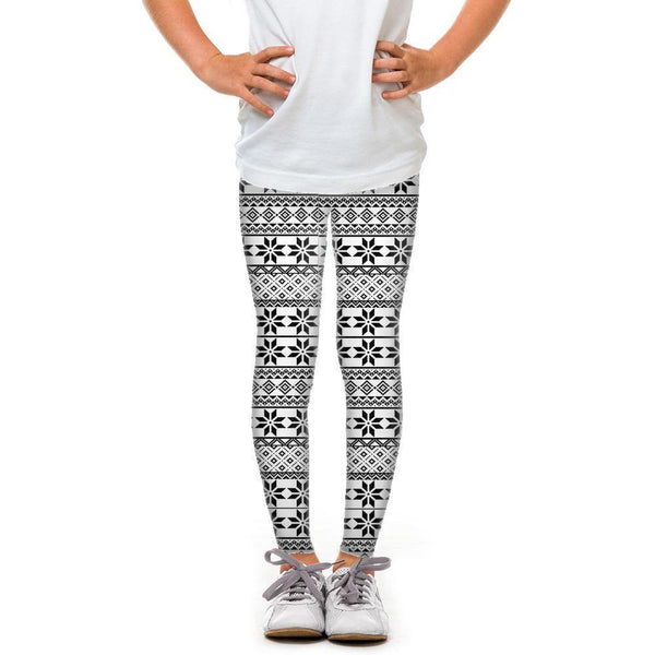 USA Made Dropship Leggings Default Title / White Youth Black and White Snowflakes YLG1BUMC20