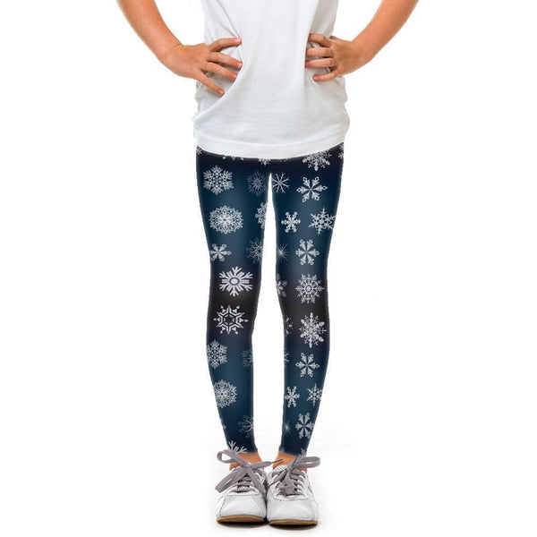 USA Made Dropship Leggings Default Title / Blue Youth Crystal Snowflakes YLG1BUMC3